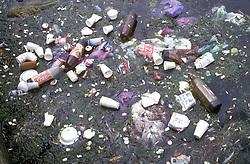 Rubbish in Dun Laoghaire harbour Dublin Eire