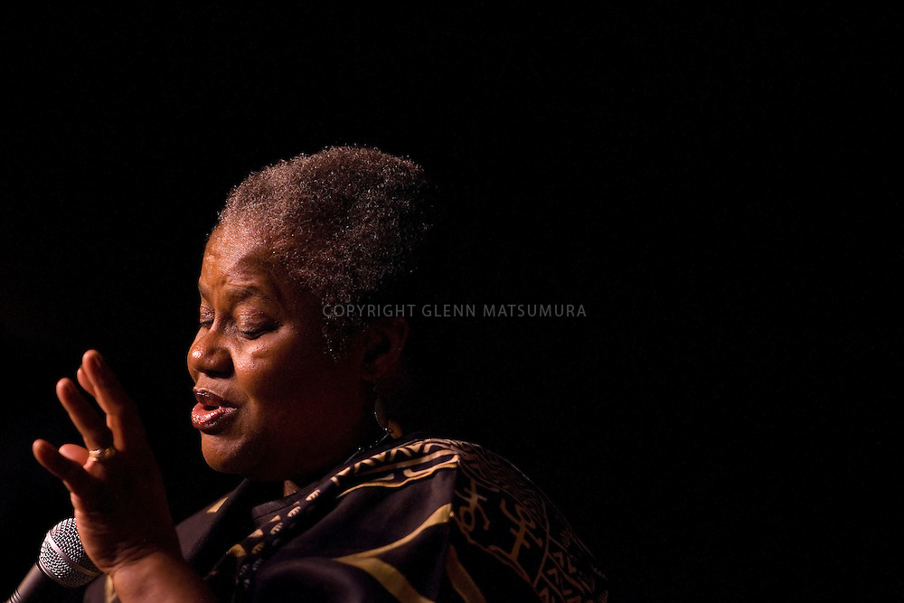 "Bernice Johnson Reagon lecture at Stanford's Dinkelspiel auditorium. She is a 60's Civil Rights activist and founder of the gospel-blues folk group ""Sweet Honey in the Rock""."