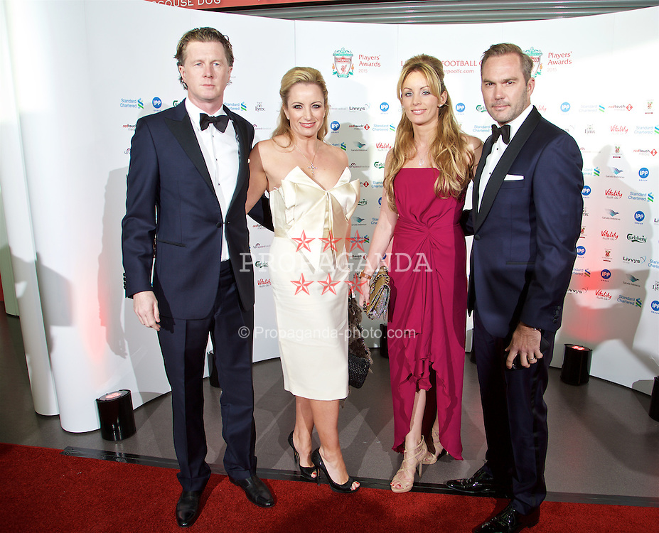 LIVERPOOL, ENGLAND - Tuesday, May 19, 2015: Former Liverpool player Steve McManaman and wife Victoria arrive with Jason McAteer and his wife Lucy Edwards on the red carpet for the Liverpool FC Players' Awards Dinner 2015 at the Liverpool Arena. (Pic by David Rawcliffe/Propaganda)