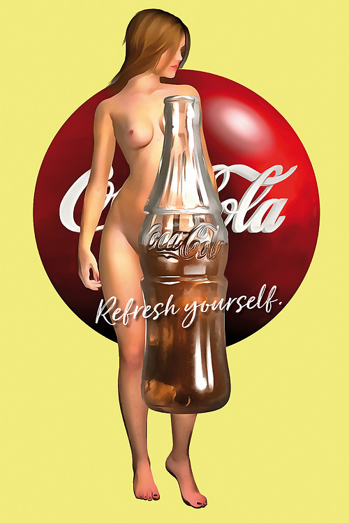 "If you love pop art, Coca-Cola, or the human body in its naked splendor, you are going to love everything this piece can bring to your space. This is a great example of pop art, as it seamlessly combines the humanity inherent in a naked human body with products and advertising slogans. The addition to the classic Coke slogan ""Refresh yourself"" is certain to stimulate the part of your mind that looks for meaning in something that strikes as unique. There is something about this piece that will compel you for a long time to come. You will love everything this piece suggests. .<br />