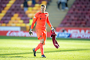 Colin Doyle (#13) of Heart of Midlothian leaves the field after the final whistle, after his mistake gifts Motherwell the wining goal during the Ladbrokes Scottish Premiership match between Motherwell FC and Heart of Midlothian FC at Fir Park, Stadium, Motherwell, Scotland on 17 February 2019.