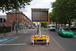 © Licensed to London News Pictures. 21/07/2012. London, UK.  Roadsigns in Battersea, London alert road users that certain lanes will be for Olympic fast-track only. Photo credit : Richard Isaac/LNP