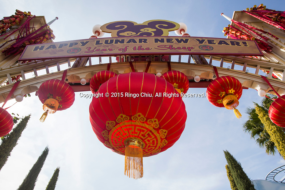Lanterns are decorated at the Paradise Garden in Disney California Adventure Park during the Happy Lunar New Year Celebration on Saturday February 21, 2015 in Anaheim, California. (Photo by Ringo Chiu/PHOTOFORMULA.com)