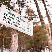 Huntington Ravine Trail sign