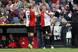 (L-R) Nicolai Jorgensen of Feyenoord, Michiel Kramer of Feyenoord during the pre-season friendly match between Feyenoord Rotterdam and Real Sociedad at the Kuip on July 29, 2017 in Rotterdam, The Netherlands