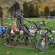 The cyclist sculpture at the finish of the New World Tour de Wakatipu bike race on Saturday. Six hundred and ninety people entered the bike race which featured an  exclusive course with breathtaking views from Millbrook Resort in Arrowtown to Chard Farm along the Kawarau River, via the trails and tracks of the Wakatipu basin with distances of 36 kilometres fun riding for recreational bikers and 45 kilometres for elite and sport racers. The event was part of the inaugural Queenstown Bike Festival, which took place from 16th-25th April. The event hopes to highlight Queenstown's growing profile as one of the three leading biking centres in the world. Queenstown, Central Otago, New Zealand. 23rd April 2011. Photo Tim Clayton..