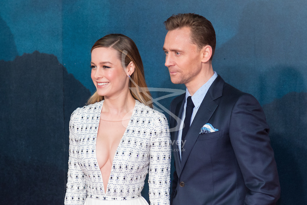 Leicester Square, London, February 28th 2017. Celebrities, VIPs and cast members of Kong: Skull Island, a Warner Brothers release, gather on the red carpet ahead of the film's European Premiere in London. The film stars Tom Hiddleston, Brie Larson, Samuel L Jackson, Tom C Reilly, Toby Kebbel and is directed by Jordan Vogt-Roberts. PICTURED: Brie Larson, Tom Hiddleston
