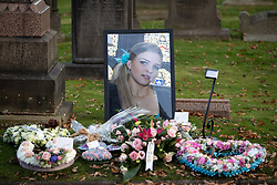 © Licensed to London News Pictures . 30/10/2018. Accrington , UK . Flowers, tributes and a portrait of Gemma , outside the crematorium , after the service . The funeral of Gemma Nuttall at Accrington Crematorium . Gemma died of cancer despite initially seeing off the disease after radical immunotherapy treatment in Germany , paid for with the fundraising support of actress Kate Winslet , who read of Gemma's plight on a crowdfunding website shortly after she lost her own mother to cancer . Permission to photograph given by Gemma's mother , Helen Sproates . Photo credit : Joel Goodman/LNP