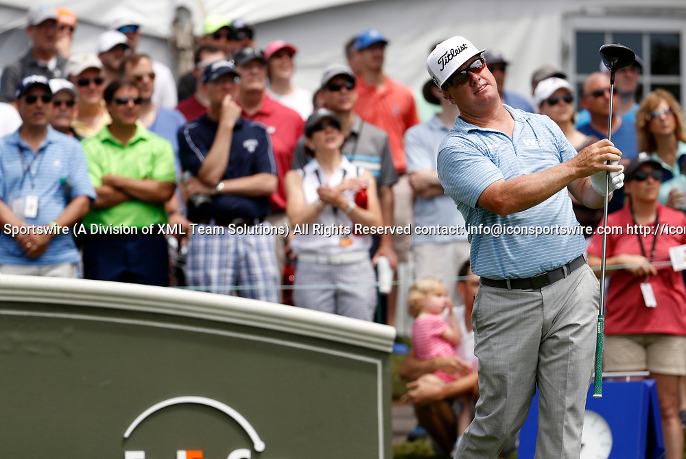 CROMWELL, CT - JUNE 24: Charley Hoffman of the United States on the first tee during the third round of the Travelers Championship on June 24, 2017, at TPC River Highlands in Cromwell, Connecticut. (Photo by Fred Kfoury III/Icon Sportswire)