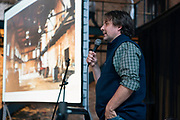 """Sitka Salmon Shares CEO Nicolaas Mink speaks during """"Garver Gourmet"""" at the newly opened Garver Feed Mill event space in Madison, Wisconsin, Saturday, Sept. 7, 2019."""