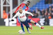 Crystal Palace midfielder Cheikhou Kouyate (8) fouls Tottenham Hotspur midfielder Lucas (27) during The FA Cup fourth round match between Crystal Palace and Tottenham Hotspur at Selhurst Park, London, England on 27 January 2019.