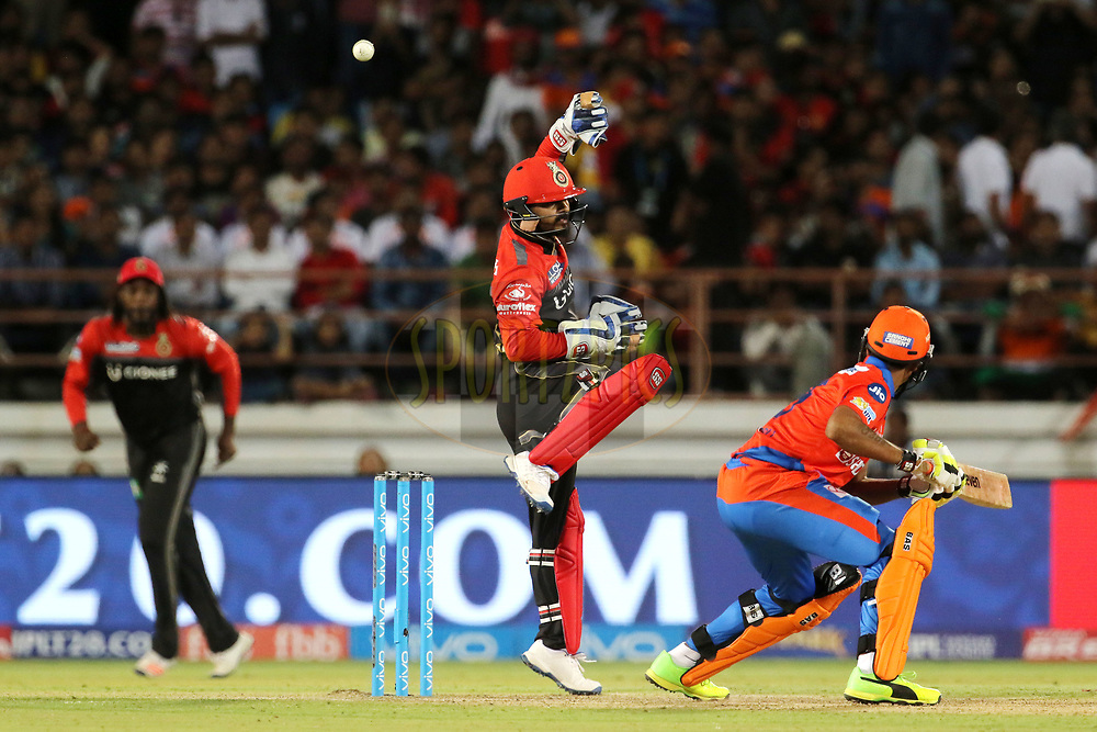 Kedar Jadhav of the Royal Challengers Bangalore tries to stop the ball played Ravindra Jadeja of the Gujarat Lions during match 20 of the Vivo 2017 Indian Premier League between the Gujarat Lions and the Royal Challengers Bangalore  held at the Saurashtra Cricket Association Stadium in Rajkot, India on the 18th April 2017<br /> <br /> Photo by Vipin Pawar - Sportzpics - IPL