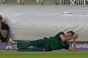 Great catch by Jake Ball to dismiss Peter Trego (not shown) during the NatWest T20 Blast Quarter Final match between Notts Outlaws and Somerset County Cricket Club at Trent Bridge, West Bridgford, United Kingdom on 24 August 2017. Photo by Simon Trafford.