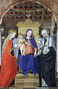 The Virgin and Child with Saints', c1490. Oil on poplar. Ambrogio Bergognone (active 1481; dc1523) Italian painter. Virgin in blue robe, enthroned, holding hand of Catherine of Siena with lily, Catherine of Alexandria with wheel. Purity