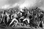 American War of Independence.  Battle of Bennington, 16 August 1777.  British defeated by colonials under General John Stark.  Engraving
