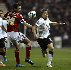 Middlesbrough's Jonathan Woodgate is beaten by Derby County's Jamie Ward - Photo mandatory by-line: Robbie Stephenson/JMP - Mobile: 07966 386802 - 17/03/2015 - SPORT - Football - Derby - iPro Stadium - Derby County v Middlesbrough - Sky Bet Championship