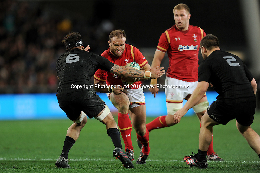 Jamie Roberts of Wales runs into the defence during the International Test match between the New Zealand All Blacks and Wales at Forsyth Barr Stadium on June 25, 2016 in Dunedin, New Zealand. Credit: Joe Allison / www.Photosport.nz