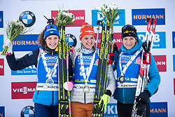 Hanna Oeberg (SWE), Denise Herrmann (GER), Anais Bescond (FRA) at Awards Ceremony after the Women 15 km Individual Competition at day 2 of IBU Biathlon World Cup 2019/20 Pokljuka, on January 23, 2020 in Rudno polje, Pokljuka, Pokljuka, Slovenia. Photo by Peter Podobnik / Sportida