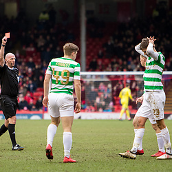 Aberdeen v Celtic, SPrem, 25th February 2018<br /> <br /> Aberdeen v Celtic, SPrem, 25th February 2018 &copy; Scott Cameron Baxter | SportPix.org.uk<br /> <br /> Lustig receives a second yellow card for bringing down Gary Mackay-Steven. Celtic are down to ten men.