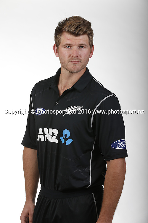 Corey Anderson.<br /> New Zealand Black Caps ODI match full length and 3/4 portraits for the 2016/17 cricket season. Pullman Hotel, Auckland. 9 November 2016. Copyright Image: William Booth / www.photosport.nz