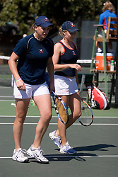 Maggie Yahner (left) and Britney Larson (right) in action against Wake.  The Virginia Cavaliers Women's Tennis team fell to the #14 Wake Forest Demon Decons 6-1 at the Snyder Tennis Center in Charlottesville, VA on March 25, 2007.