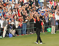 Tiger Woods acknowledges the crowd following his victory at the 2011 Chevron World Challenge at the Sherwood Country Club in Thousand Oaks, Calif., on Sunday, Dec. 4, 2011. Woods snapped a two-year victory drought, edging Zach Johnson by one stroke.
