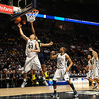 Penn State's Ross Travis (43) grabs a rebound late in the second half of an NCAA basketball game in Unversity Park, Pa., Wedneday, February 27, 2013.