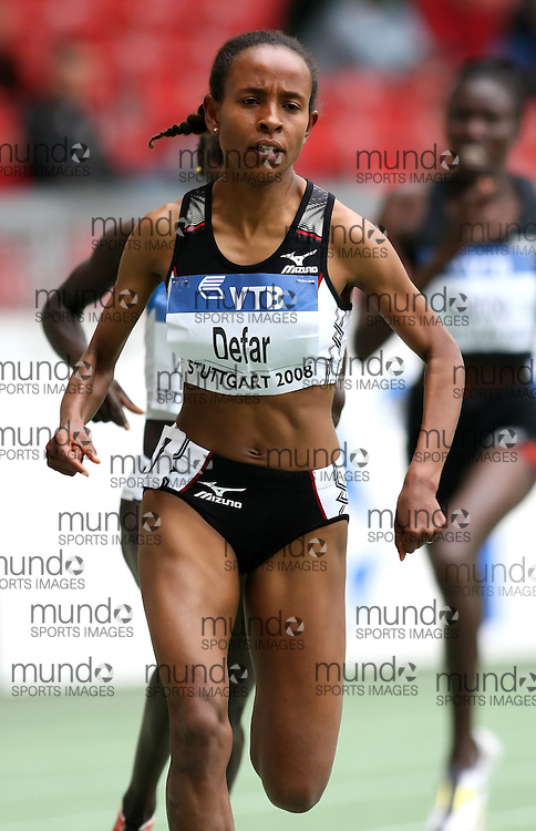 (Stuttgart, Germany---14 September 2008) Meseret Defar of Ethiopia running to victory and a season's best (8:43.60) in the 3000m at the 2008 World Athletics Final. [Copyright Sean W. Burges/Mundo Sport Images, 2008.]