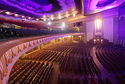 © Licensed to London News Pictures 06/09/2013<br /> Interior of the newly renovated audiotorium of the 1930s Hammersmith Apollo, now renamed, the Eventin Apollo. <br /> The 1932 Art Deco building was designed by renowned theatre architect Robert Cromieand has been the venue for artists like David Bowie's Ziggy Stardust, Bruce Springsteen, The Rolling Stones, Bob Marley, Ella Fitzgerald and Duke Ellington. <br /> The Eventim Apollo will open to the public on 7th September with a sold-out show for Selena Gomez.