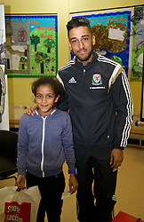 NEWPORT, WALES - Tuesday, October 7, 2014: Wales' Neil Taylor visit Mount Stuart School for a Show Racism the Red Card promotion ahead of the UEFA Euro 2016 qualifying match against Bosnia and Herzegovina. (Pic by David Rawcliffe/Propaganda)