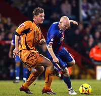 Photo: Chris Ratcliffe.<br />Crystal Palace v Wolverhampton Wanderers. Coca Cola Championship. 10/12/2005.<br />Andy Johnson (R) of Palace turns away from Rob Edwards