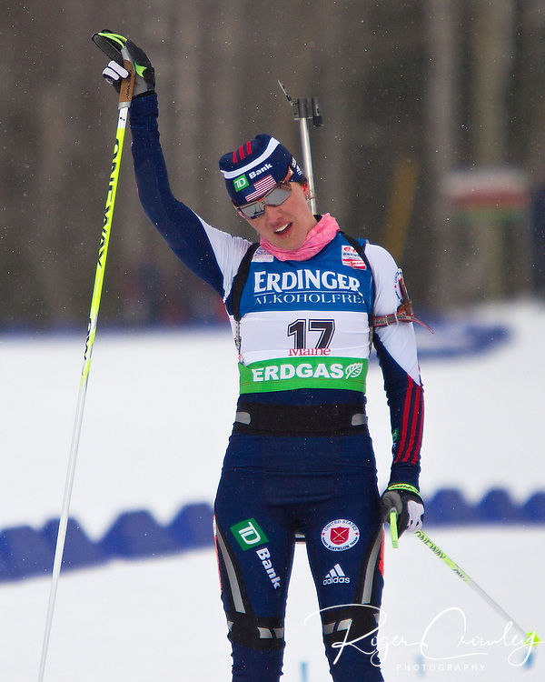 E.ON IBU World Cup Biathlon at the 10th Mountain Ski Center in Fort Kent Maine February 12, 2011. Women's Pursuit winners were in order; Andrea Henkel (Germany), Magdalena Neuner (Germany), Marie Dorin (France)..Top USA finishers were Sara Studebaker (27th), Laura Spector (42nd), Haley Johnson (43rd).