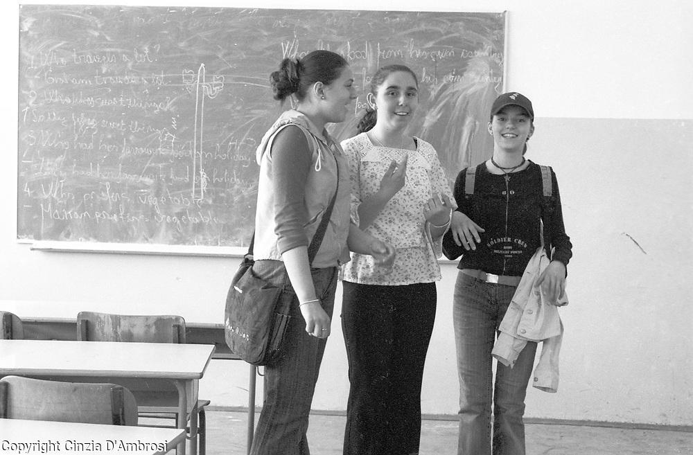 Girl in a school in Mitrovice, Kosovo.