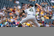 May 28, 2018 - Pittsburgh, PA, U.S. - PITTSBURGH, PA - MAY 28:   Chicago Cubs relief pitcher Steve Cishek (41) throws a pitch during an MLB game between the Pittsburgh Pirates and Chicago Cubs on May 28, 2018 at PNC Park in Pittsburgh, PA. (Photo by Shelley Lipton/Icon Sportswire) (Credit Image: © Shelley Lipton/Icon SMI via ZUMA Press)