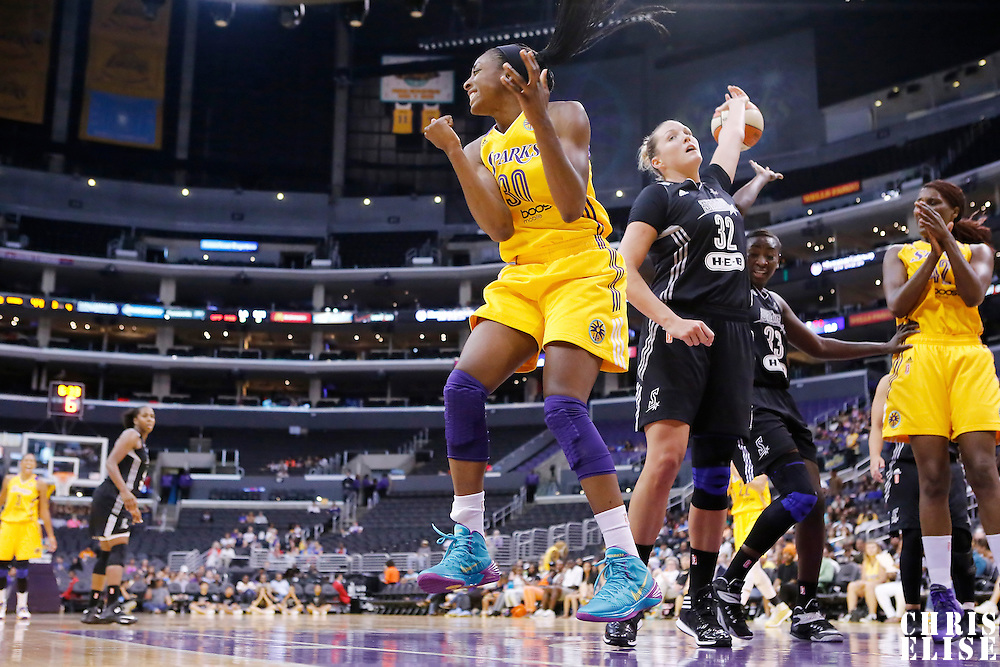 22 June 2014: forward Nneka Ogwumike (30) of the Los Angeles Sparks reacts during the San Antonio Stars 72-69 victory over the Los Angeles Sparks, at the Staples Center, Los Angeles, California, USA.