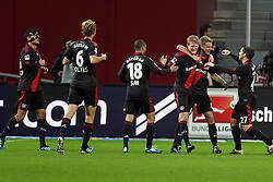 05.11.2011,  BayArena, Leverkusen, GER, 1.FBL, Bayer 04 Leverkusen vs Hamburger SV, im Bild.Torjubel / Jubel  nach dem 2:0 durch Lars Bender (Leverkusen #8) (2R) ..// during the 1.FBL, Bayer Leverkusen vs Hamburger SV on 2011/11/05, BayArena, Leverkusen, Germany. EXPA Pictures © 2011, PhotoCredit: EXPA/ nph/  Mueller       ****** out of GER / CRO  / BEL ******