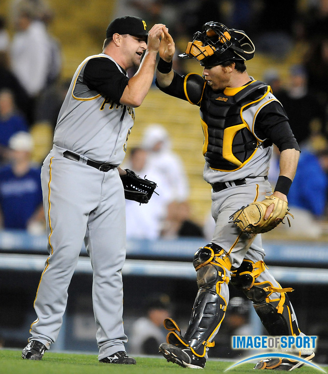 Apr 14, 2008; Los Angeles, CA, USA; Pittsburgh Pirates reliever Matt Capps (55) and catcher Ryan Doumit (41) celebrate after the final out of 6-4 victory over the Los Angeles Dodgers at Dodger Stadium.