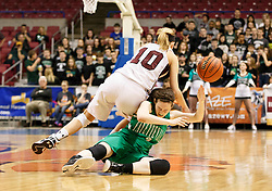 Wheeling Central's Regan Blaha (10) and Fayetteville forward Hannah Franklin (3) dive for a loose ball during a first round game at the Charleston Civic Center.