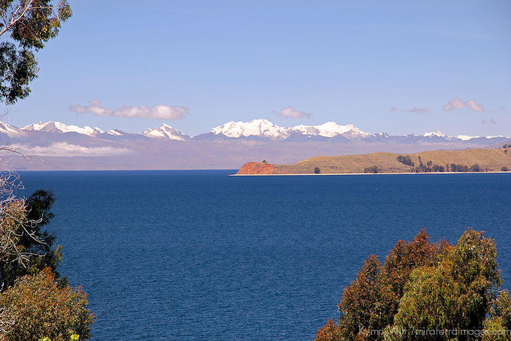 South America, Bolivia, Sun Island. View of the Royal Range of the Andes from Sun Island.