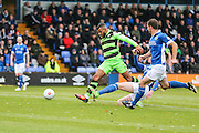 Forest Green Rovers Dan Wishart(17) shoots at goal during the Vanarama National League match between Macclesfield Town and Forest Green Rovers at Moss Rose, Macclesfield, United Kingdom on 12 November 2016. Photo by Shane Healey.