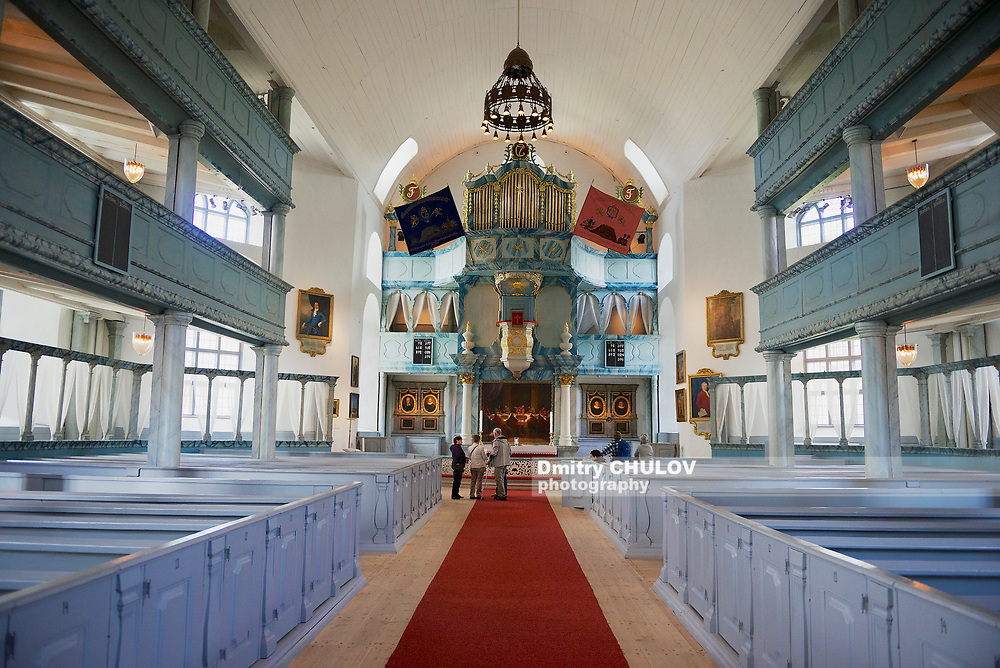 ROROS, NORWAY - JUNE 24, 2013: Unidentified tourists visit Bergstadens Ziir church in the town of Roros, Norway