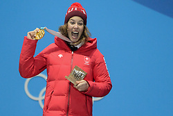 February 22, 2018 - Pyeongchang, South Korea - MICHELLE GISIN of Switzerland celebrates getting the gold medal in the Ladies' Combined Alpine Slalom skiing event in the PyeongChang Olympic Games. (Credit Image: © Christopher Levy via ZUMA Wire)