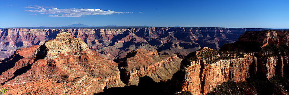 A panoramic view of the Grand Canyon from Cape Royal, North Rim, Arizona, USA