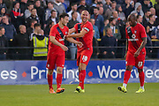 Russell Penn celebrates Reece Thompsons goal during the Pre-Season Friendly match between York City and Newcastle United at Bootham Crescent, York, England on 29 July 2015. Photo by Simon Davies.