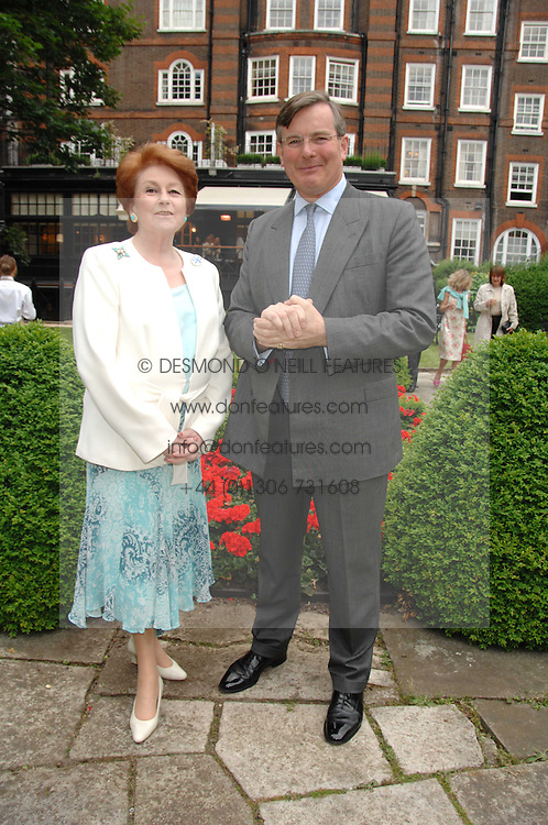 LADY ELIZABETH ANSON and CAPT.ASHE WINDHAM Chairman of the Friends of The Castle of Mey at a reception for the Friends of The Castle of Mey held at The Goring Hotel, London on 20th May 2008.<br />