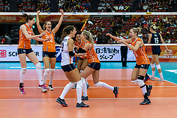 15-10-2018 JPN: World Championship Volleyball Women day 16, Nagoya<br /> Netherlands - USA 3-2 / Maret Balkestein-Grothues #6 of Netherlands, Myrthe Schoot #9 of Netherlands, Nicole Koolhaas #22 of Netherlands, Laura Dijkema #14 of Netherlands, Celeste Plak #4 of Netherlands, Lonneke Sloetjes #10 of Netherlands