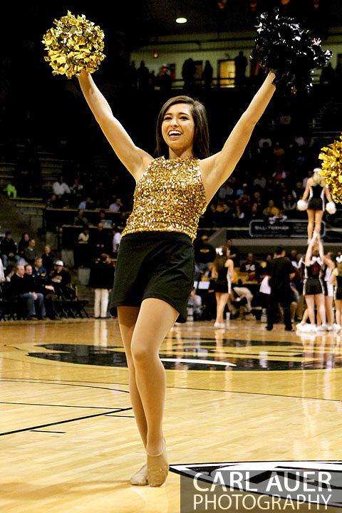 January 12th, 2013: A Colorado Buffaloes cheerleader waves her pom poms prior to the start of the NCAA basketball game between the UCLA Bruins and the University of Colorado Buffaloes at the Coors Events Center in Boulder CO