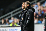 Forest Green Rovers manager, Mark Cooper and Forest Green Rovers assistant manager, Scott Lindsey during the EFL Trophy match between Coventry City and Forest Green Rovers at the Ricoh Arena, Coventry, England on 9 October 2018.
