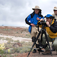 050115      Cayla Nimmo<br /> <br /> Jerry Ginsberg, a photographer from Boca Raton Florida, frames a shot for in the Crystal Forest in the Petrified National Forest Saturday while Steve Price, left, and Gary Elle, right, watch. Ginsberg lead an educational photography tour through the Crystal Forest trail as part of his artist in residence program with the National Park.