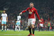 Wayne Rooney Forward of Manchester United with blood on his face during the EFL Cup Quater-Final between Manchester United and West Ham United at Old Trafford, Manchester, England on 30 November 2016. Photo by Phil Duncan.